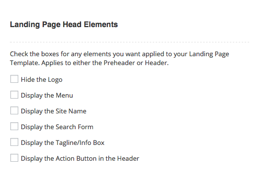 Landing Page Theme Options